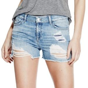 Guess Vintage Distressed Shorts in Blue Solange